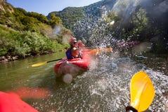 Canoe Water Joy Splashes Fun Royalty Free Stock Photography