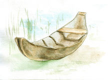 Canoe. Watercolor and ink hand drawing of canoe Stock Photos
