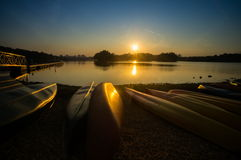 Canoe at wetland Putrajaya during sunset Royalty Free Stock Photo