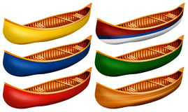 Canoe. Wooden canoe in six colors Royalty Free Stock Photos