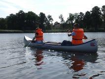 Canoeing на датском озере Стоковое Изображение