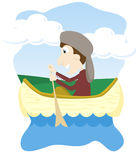 Canoeing. Vector illustration of a boy canoeing Stock Photos