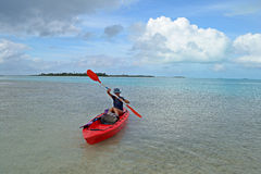 Canoeing in Aitutaki Stock Photography