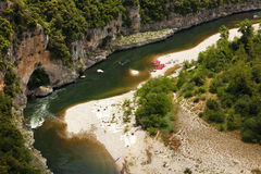 Canoeing at the Ardeche canyon Royalty Free Stock Photo