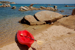 Canoeing on the beach Stock Photo