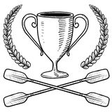 Canoeing or boating trophy sketch. Doodle style canoeing or boating trophy sketch in vector format Stock Photo