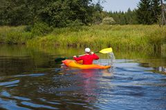 Canoeing in the Bohemian Forest Stock Photos