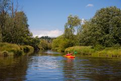 Canoeing in the Bohemian Forest Stock Image