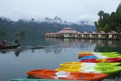 Canoeing on Cheo Lan lake in Khao Sok National park, Thailand Stock Photography