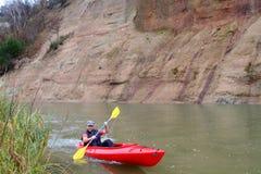 Canoeing d'homme Image libre de droits