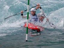 Canoeing da água branca Fotos de Stock Royalty Free