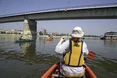 Canoeing at Danube Royalty Free Stock Photos