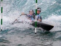 Canoeing de l'eau blanche Images stock