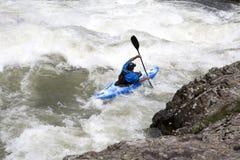 Canoeing dell'acqua bianca Fotografia Stock