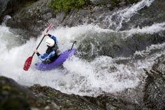 Canoeing dell'acqua bianca Immagini Stock Libere da Diritti