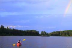 Canoeing della ragazza Fotografia Stock Libera da Diritti