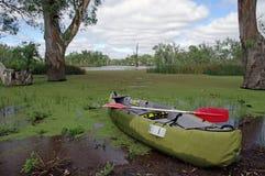 Canoeing dello stagno Fotografie Stock Libere da Diritti
