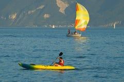 Canoeing e navigare Fotografia Stock