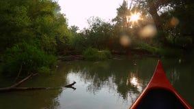Canoeing em um rio video estoque