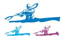 Canoeing emblem set Stock Image