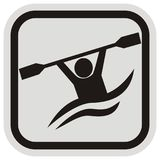 Canoeing, figure with paddle at gray and black frame, vector icon Royalty Free Stock Photos