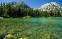Canoeing in the grand tetons royalty free stock photos