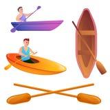 Canoeing icons set, cartoon style vector illustration
