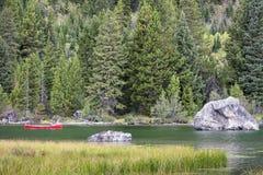 Canoeing on Jenny Lake Stock Images