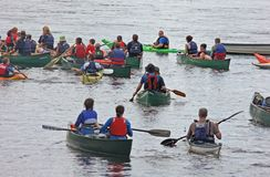 Canoeing Kayaking down the river Bann Ireland royalty free stock photo