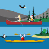 Canoeing and kayaking Royalty Free Stock Images