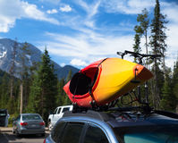 Canoeing/kayaking in the Grand Teton Park. Canoe/kayak was bound to a car royalty free stock images