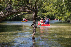 Canoeing and Kayaking on River and Lake in South France during Summer Royalty Free Stock Photos
