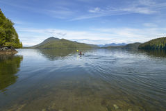 Canoeing in Kennedy Lake. Vancouver. British Columbia. Canada Royalty Free Stock Images