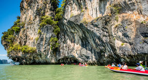 Canoeing at Koh Hong Island Royalty Free Stock Photography