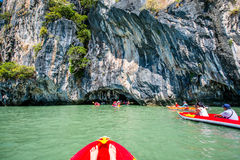 Canoeing at Koh Hong Island Royalty Free Stock Images