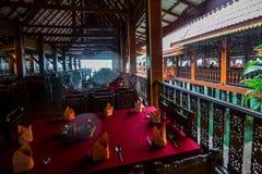 Koh Panyee settlement built on stilts of Phang Nga Bay, Thailand. Canoeing at Koh Hong IslandPhang-Nga, Thailand Thailand 21 MAY 2017 : Koh Panyee settlement Stock Photo
