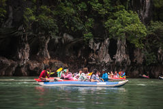 Canoeing, Koh Hong, Phang Nga Bay Royalty Free Stock Photos