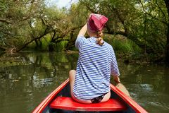 Canoeing on a lake. Canoeing in beautiful natural environment, Lake Tisza, Hungary stock image