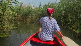 Canoeing on a lake. Canoeing in beautiful natural environment, Lake Tisza, Hungary stock video