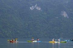Canoeing on Lake Chiao Lan, Thailand Royalty Free Stock Images