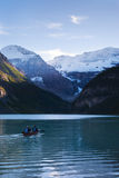 Canoeing in lake Louise Stock Photos