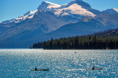 Canoeing at lake Maligne, Alberta, Canada. Maligne Lake is the largest glacially fed lake in the Canadian Rockies.  It is famed for the beautiful blue colour of Royalty Free Stock Images