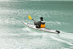 Canoeing on the magnificent Lake Louis stock photo