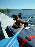 Canoeing moose. Moose plush in canoe in Sweden Stock Photos