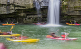 Canoeing motion blurred royalty free stock photos