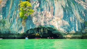 Canoeing near the limestone cliffs. Thailand, Phang Nga stock video footage