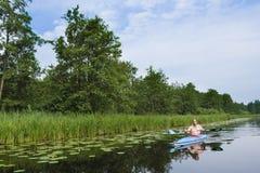 Canoeing at Nieuwkoopse Plassen stock image