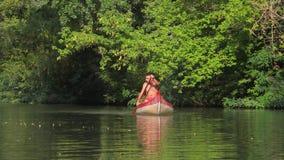Canoeing op een rivier stock footage