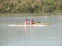 Canoeing opleiding Stock Foto
