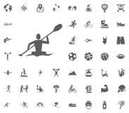 Canoeing, remando, icono del canotaje Iconos determinados del vector del ejemplo del deporte Sistema de 48 iconos del deporte Foto de archivo libre de regalías